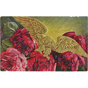 Beautiful Red Roses and gold Eagle Love Vintage Postcard