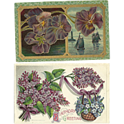 2 Vintage Postcards with Purple Flower Lilac theme
