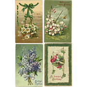 Lot of 4 Vintage postcards with Floral theme