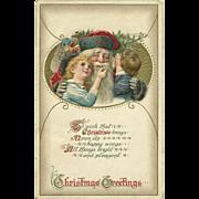 SOLD John Winsch Santa Claus with Children vintage Christmas Postcard