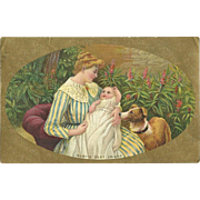 SOLD Baby's Best Friend - Mother holding baby with dog looking on Vintage Postcard - FREE US S