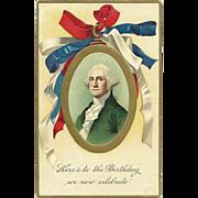 1908 Ellen Clapsaddle Patriotic Ribbon George Washington Vintage postcard