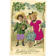 Vintage Silk Postcard Birthday greetin with children flowers and good 4 leaf luck clovers #344