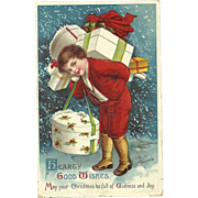 Signed Ellen Clapsaddle vintage Christmas postcard  Series 1045