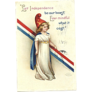 Artist Signed Ellen Clapsaddle Little Miss Liberty Patriotic vintage Postcard