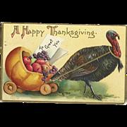 Signed Ellen Clapsaddle Thanksgiving Turkey pulls a cart of fruit vintage postcard