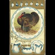 Beautiful Signed Artist vintage Postcard by Ellen Clapsaddle  Thanksgiving Flo Blue dishes