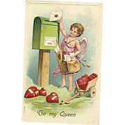 "SOLD ""To My Queen"" Vintage Valentine Cupid Mailman delivers a card and cart of heart"