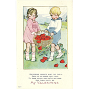"SOLD ""Gathering Hearts ain't no fun - each of us needs only one"" Vintage Valentine P"