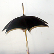"Fine Antique 12"" Doll Umbrella & Sheath Enameled China Handle"