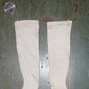 "6"" Ivory Fine Rib Cotton  Knitted French Fashion Stockings"