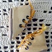 "Vintage 1.75"" Ivory Oil Cloth High Top 3 Grommet Shoes for Slim 13/""14"" Doll"