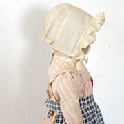 19th C Indigo Check Hand Stitched Homespun PA Doll Apron