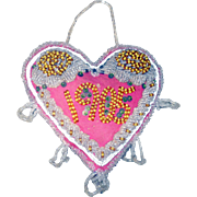 REDUCED Exceptional 1905 Dated Beaded Heart Iroquois Tourist Pin Cushion