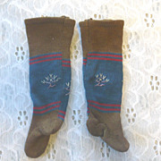 Antique Toast Indigo & Red Ribbed  Knit Doll Stocking Embroidery