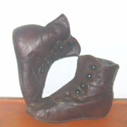 """19th Century 5"""" Brown Leather 5 Button High Tops Greiner or China"""