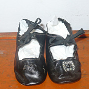 "SOLD Hold  ***** Pending Sale***Size 8  Black 3.25""Oil Cloth Doll Shoes Ties One Toe Bow"