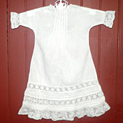 Hand Stitched White Lawn Gown Insertion Lace  & Tucks
