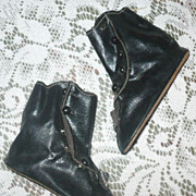 "Old Stock  4"" Hi Top Flat Sole Black Oil Cloth Doll Boots"