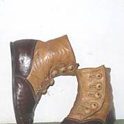"SOLD Brown & Saddle Leather 5 Button 4 & 5/8"" Hi Tops Rag Doll"