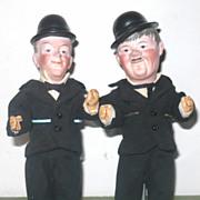 "PR 7.5"" Bisque Head Laurel & Hardy Hatted Character Dolls"
