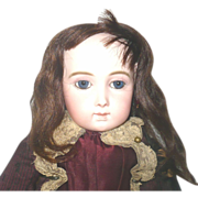 """Old 11"""" Brunette Hair Wig from French Doll Blue Linen Cap"""
