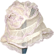 """Old Ivory Net & Ribbon Ruffled Tiers Cap for 12-14"""" Head"""