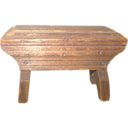 "Folk Art 19th C Mini 2.5"" Stool Canted  Boot Jack Legs Patina"