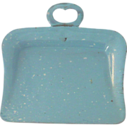 """Old 3.25"""" Toy  Robins Egg Blue Granite Ware Dust Pan"""