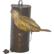"""7"""" Painted Tin Chirping Canary  on Branch Pull String Toy"""
