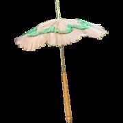 19th C Brown Linen  w Green Ruching Wood Handle Parasol