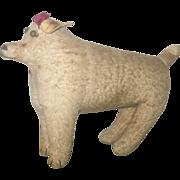 """19th C 11"""" Long Stiff Leg Flannel Amish  Stuffed Dog Button Eyes Wear"""
