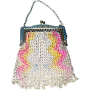"3.5"" Metal Link Mesh Purse Cream Pink Chain Handle"
