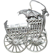 Small 19th C Pierced Soft Metal Baby Carriage w Parasol