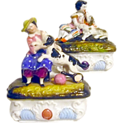 REDUCED PR Conta & Boehm Pin / Trinket Boxes Children w Dogs