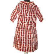 Old NJ Crimson & Ivory Woven Linen Dress for a China or Rag Doll