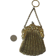 Chatelaine Doll Purse Gold Beads & German Silver Frame