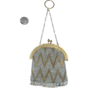 REDUCED Deco Mesh Chatelaine Purse Gold  Finished Frame &Chain