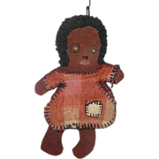 Old Felt Mammy Needle Book Pin Keep Woolly Hair Braid