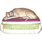 19th Century 4.25 Inch German Bisque Trinket Box Whippet on Lid