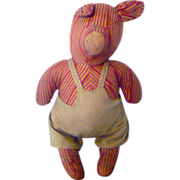1930's Red and Flax Striped Linen Stuffed Pennsylvania  Pig in Overalls