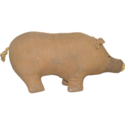 8 Inch Amish Hand Stitched Linen Toy Pig