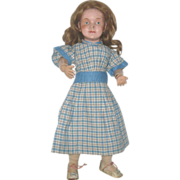SOLD 19th Century Hand Stitched Blue Plaid Home Spun Linen Dress for Early Doll
