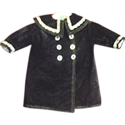 Antique Lined Black Velvet Coat with Back Belt for French Bebe or German Toddler