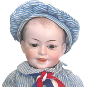 14 Inch SFBJ Character 227 Boy Dome Head Brown Glass Eyes Composition and Wood Body