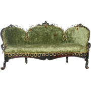 8 Inch Rock and Graner Rococo Green Velvet Upholstered Sofa