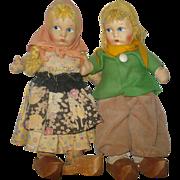 Pr 11 Inch Mask Face 1930's Cloth Dolls Yellow Yarn Hair Wood Shoes Regional ...