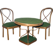REDUCED 3 Piece 19th Century Fashionable Doll's Bentwood Bistro Set