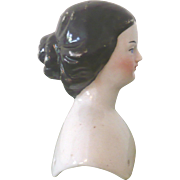 ***** On Layaway******3 Inch Jenny Lind Portrait China Head Bun Wear Left Plate Corner Off