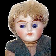 3.5 Inch Slender All Bisque German Doll House Boy Cobalt Glass Eyes Original Wig ...